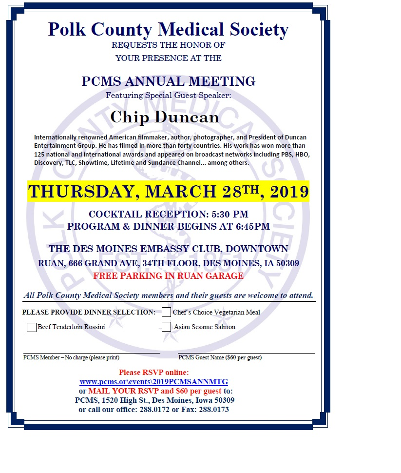 2019 PCMS Annual Meeting – March 28, 2019